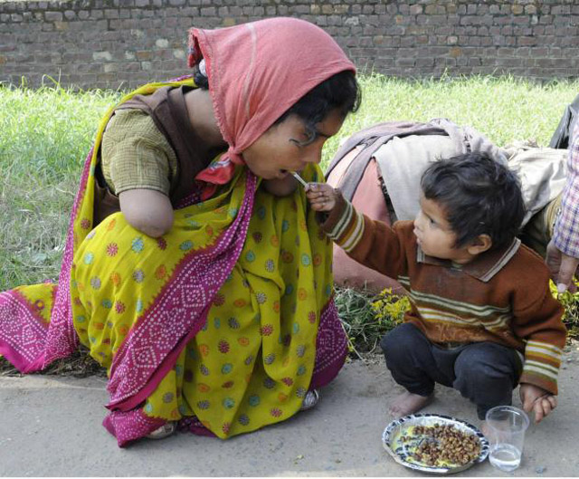 29. Children under 2 years feeds him his disabled mother